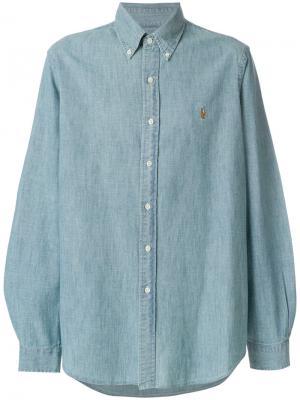 Джинсовая рубашка с вышивкой логотипа Polo Ralph Lauren. Цвет: синий