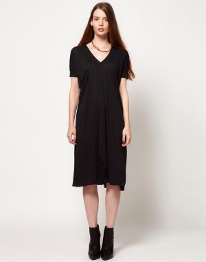 Dagmar Платье с рукавами в рубчик. Цвет: серый