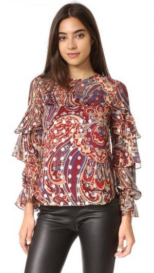 Блуза с оборками Haute Hippie. Цвет: металлизированный kennedy