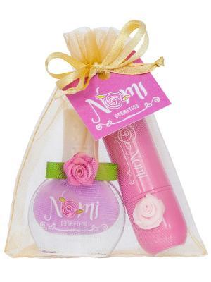 Подарочный набор №12- Лак для ногтей №26, Детский бальзам губ Bubble gum Nomi. Цвет: розовый