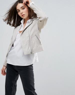 Muubaa Байкерская кожаная куртка Gulrro. Цвет: серый