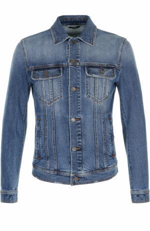 Джинсовая куртка с контрастной прострочкой Dolce & Gabbana. Цвет: голубой