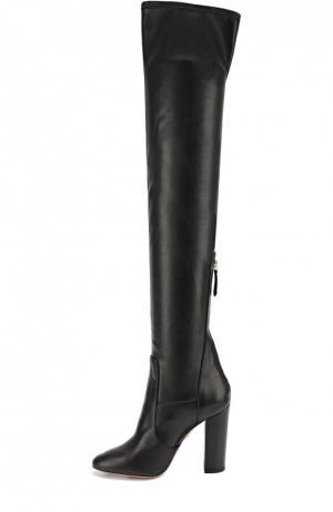 Комбинированные ботфорты Thigh на устойчивом каблуке Aquazzura. Цвет: черный