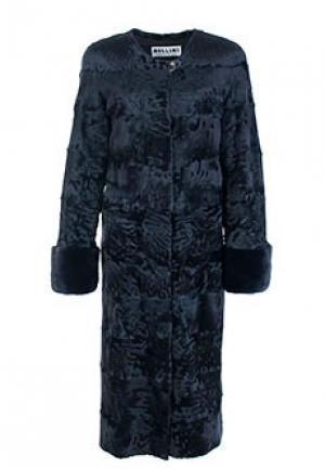 Меховое пальто каракуль BELLINI. Цвет: синий