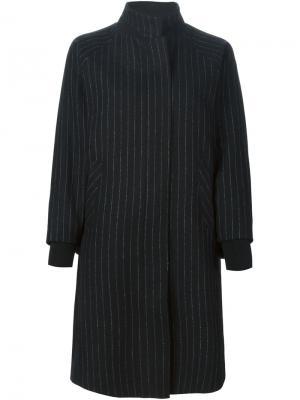 Пальто в тонкую полоску Demoo Parkchoonmoo. Цвет: чёрный
