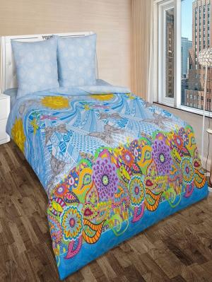 Комплект постельного бель тк. Поплин Восторг Арт Постель. Цвет: голубой, желтый, серый, синий