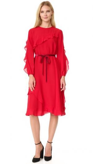 Шелковое платье с оборками Leur Logette. Цвет: красный