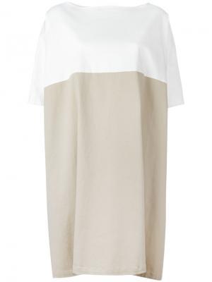Двухцветное платье Stefano Mortari. Цвет: белый