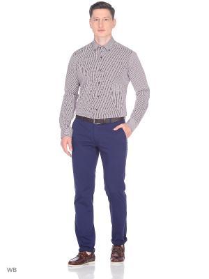Рубашка Greg Horman. Цвет: синий, белый, коричневый