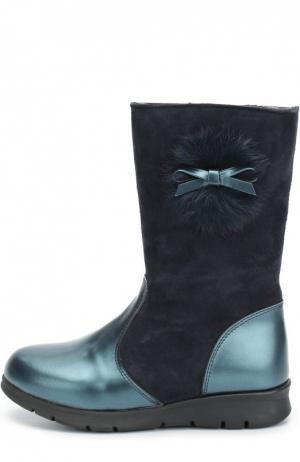 Комбинированные сапоги с помпоном и бантом Clarys. Цвет: синий