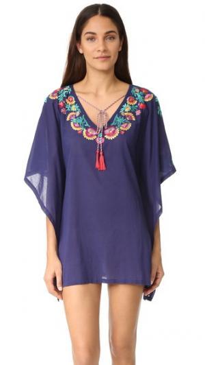 Пончо с вышивкой OndadeMar. Цвет: голубой