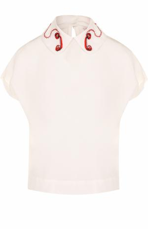 Шелковая блуза с декорированным воротником и коротким рукавом Olympia Le-Tan. Цвет: белый