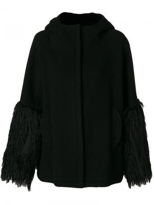 Пальто с бахромой на манжетах Giamba. Цвет: чёрный