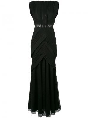 Приталенное кружевное платье Talbot Runhof. Цвет: чёрный