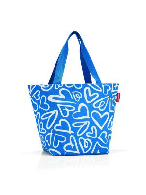 Сумка Shopper M funky hearts Reisenthel. Цвет: синий, белый