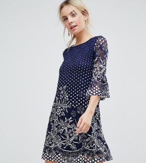Uttam Boutique Petite Кружевное платье с принтом. Цвет: черный
