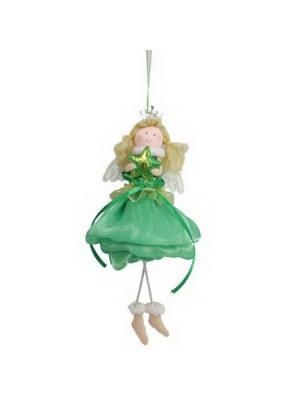 Мягкий сувенир 20см, полиэстер, Зимняя фея, СНОУБУМ. Цвет: зеленый