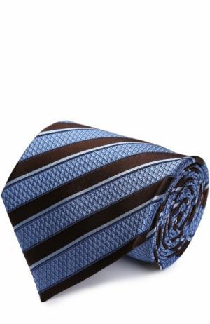Шелковый галстук в полоску Ermenegildo Zegna. Цвет: голубой