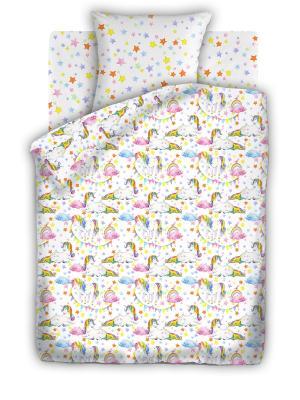 Комплект постельно белья 1,5 бязь  Единороги Непоседа. Цвет: белый
