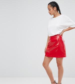 ASOS Petite Виниловая мини-юбка. Цвет: красный