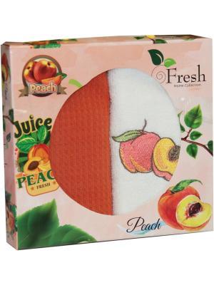 Кухонные полотенца в подарочной коробке ЛЮКС  2 шт., 30х50 см, 100% хлопок Dorothy's Нome. Цвет: персиковый, кремовый