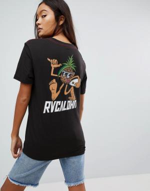 RVCA Футболка бойфренда с принтом. Цвет: черный