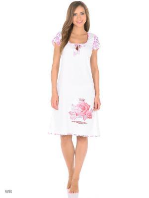 Ночная сорочка NAGOTEX. Цвет: белый, розовый