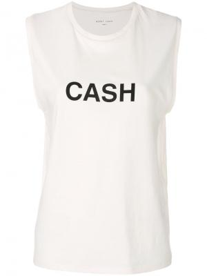 Топ с принтом Cash 6397. Цвет: белый