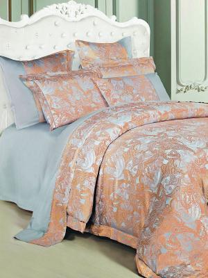 Постельное белье семейное, жаккард. сатин, 2 нав. 50х70, золотисто-голубой Asabella. Цвет: серо-голубой, терракотовый