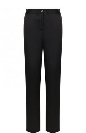 Шелковые брюки прямого кроя с контрастными лампасами Equipment. Цвет: черный