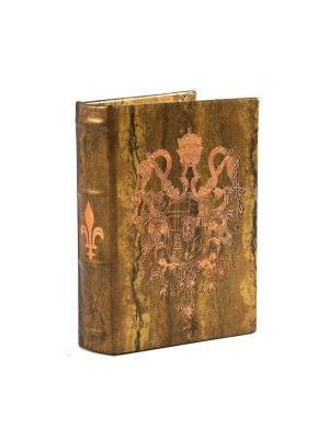 Шкатулка-фолиант Герб 14*10*3см Русские подарки. Цвет: золотистый