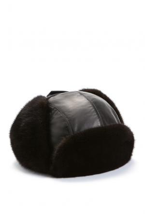 Кожаная шапка с норковой отделкой 158187 Zilli. Цвет: черный