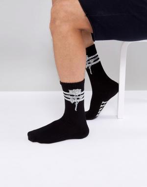 HUF Черные носки с принтом роз Ambush. Цвет: черный