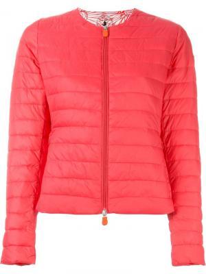 Стеганая куртка с заплаткой логотипом Save The Duck. Цвет: розовый и фиолетовый
