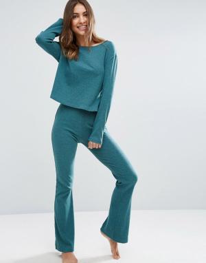 ASOS Зауженные брюки в рубчик с клешем LOUNGE. Цвет: зеленый
