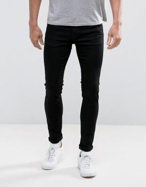 Weekday Черные выбеленные джинсы скинни. Цвет: черный