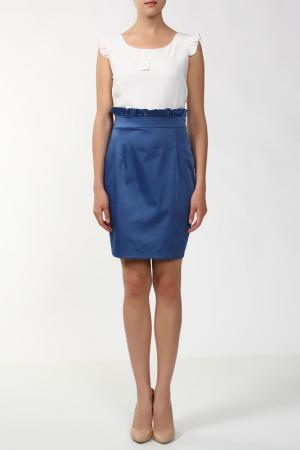 Платье Анора. Цвет: белый, синий