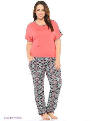 Комплект домашней одежды ( футболка, брюки) HomeLike. Цвет: коралловый