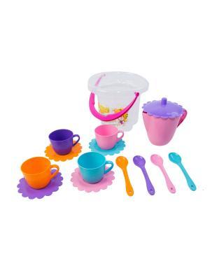 Набор посуды Ромашка в ведре 15 эл. ТИГРЕС. Цвет: синий, зеленый, красный, желтый