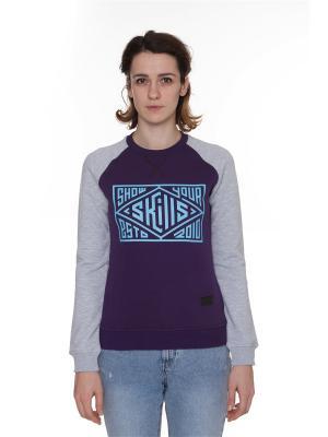 Свитшот SKILLS W Quad Сrewneck. Цвет: темно-фиолетовый, серый меланж, фиолетовый
