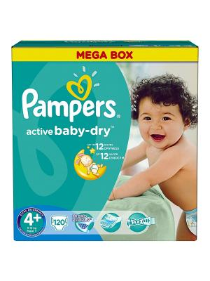 Подгузники Active Baby-Dry 9-16 кг, 4+ размер, 120 шт. Pampers. Цвет: зеленый