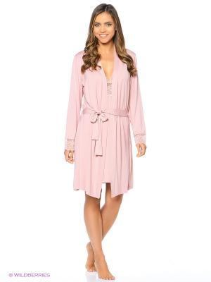 Комплект (халат, сорочка ночная) ASOLINDA. Цвет: розовый