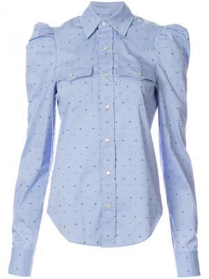 Рубашка в горох с длинными рукавами-пуфф Petersyn. Цвет: синий