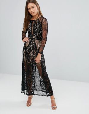 Pixie & Diamond Платье макси с кружевным верхним слоем. Цвет: черный