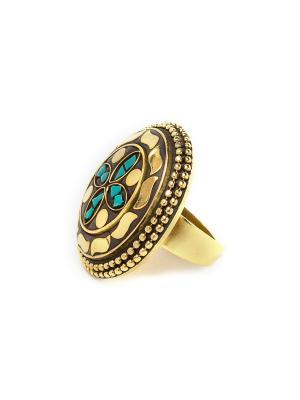 Кольцо Бирюзовый цветок MZ0092 Indira. Цвет: зеленый