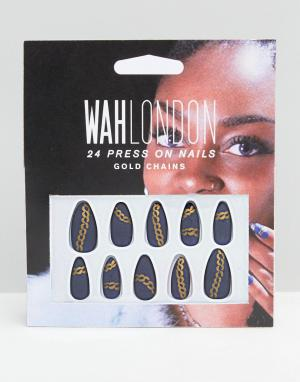 WAH Накладные ногти London & ASOS. Цвет: синий