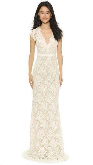 Кружевное вечернее платье Im Married Reem Acra. Цвет: кремовый/розовый