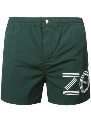 Пляжные шорты с логотипом Kenzo. Цвет: зелёный