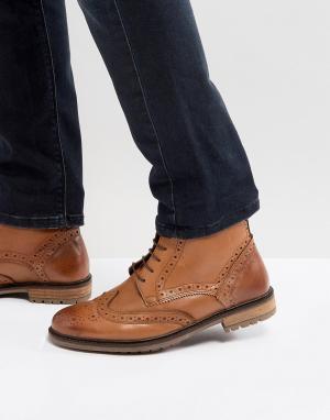 Silver Street Светло-коричневые кожаные ботинки-броги. Цвет: рыжий