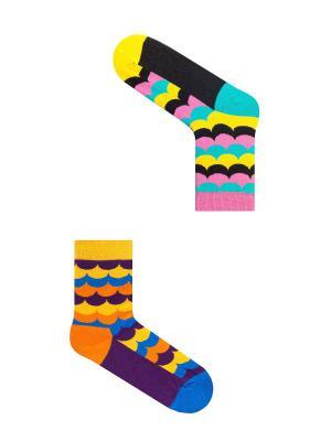 Набор женский Закат на Бора-Бора (2 пары в упаковке), дизайнерские носки SOXshop. Цвет: лазурный, красный, темно-фиолетовый